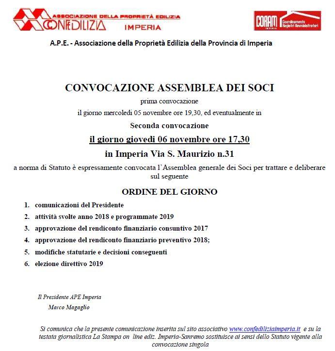 ASSEMBLEA DEI SOCI A.P.E. IMPERIA CONFEDILIZIA