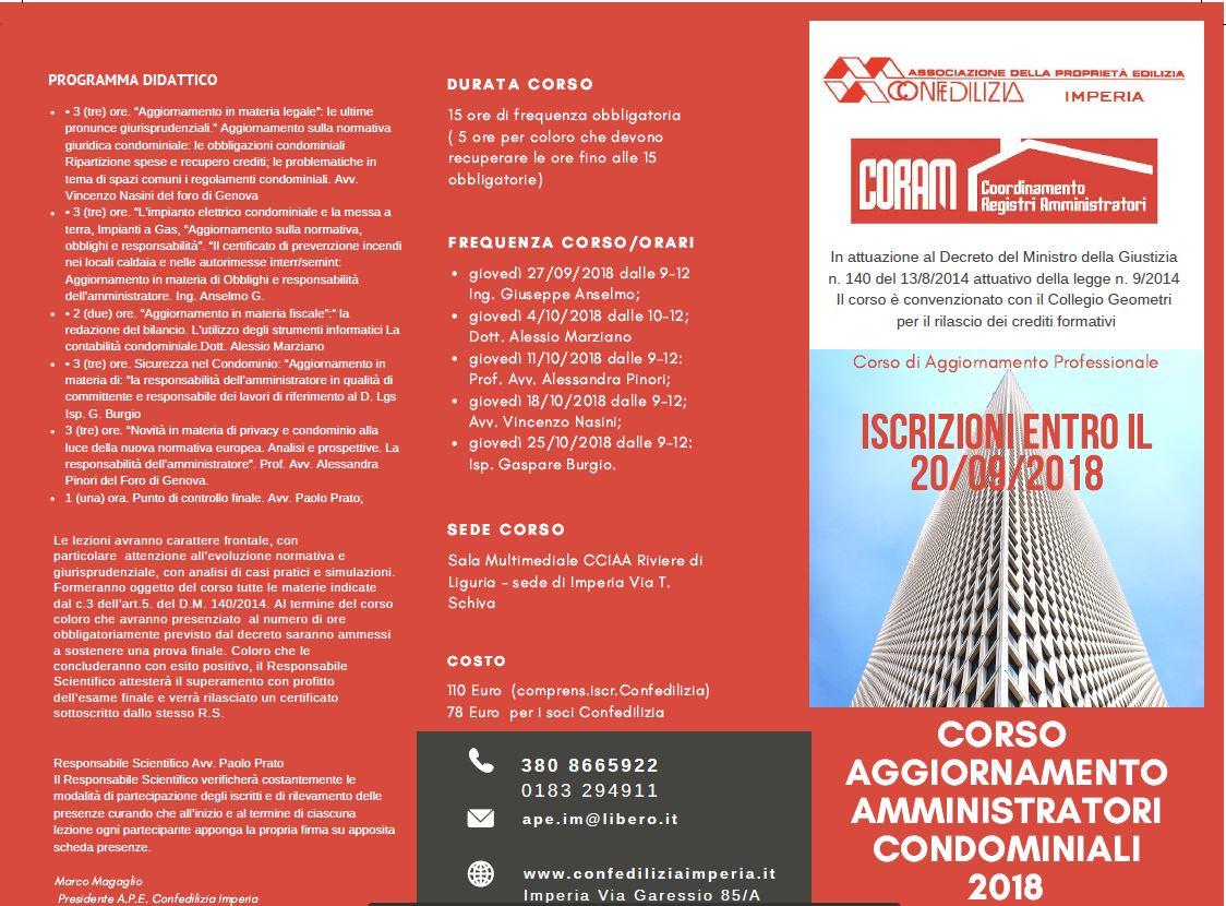 Corso Amministratori Condominiali - Aggiornamento Professionale Obbligatorio